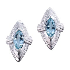 Aquamarine White Gold Clip on Earrings