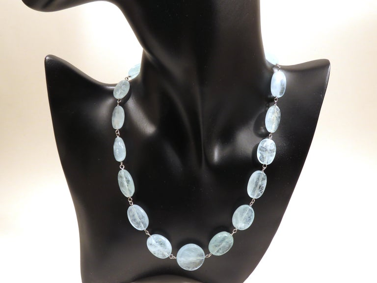 Unbelievable natural faceted aquamarine nuggets necklace set up in 18k white gold.  Total length is 420 millimeters / 16.53 inches. It is stamped with the Italian Gold Mark 750 - 716MI. Ready for delivery. It can be shipped with express delivery on