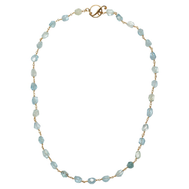 Aquamarine Wire-Wrap Gold Necklace For Sale at 1stdibs