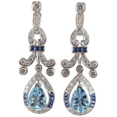 Aquamarine with Blue Sapphire and Diamond Earrings Set in 18 Karat White Gold