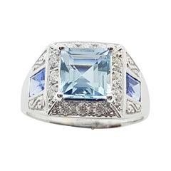 Aquamarine with Blue Sapphire and Diamond Ring Set in 18 Karat White Gold