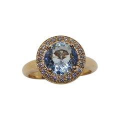 Aquamarine with Diamond Ring Set in 18 Karat Rose Gold Settings
