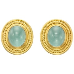 Aquamarine Yellow Gold 22 Karat Gold 18 Karat Gold Earrings