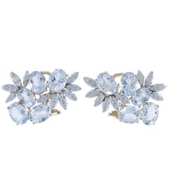 Aquamarine, Diamonds, Rose Gold Earrings