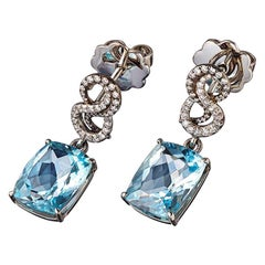 Aquamarines White Diamonds Platin Earrings