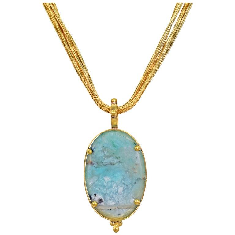 Aquaprase 22 Karat Gold Pendant on Four-Strand Chain Necklace For Sale