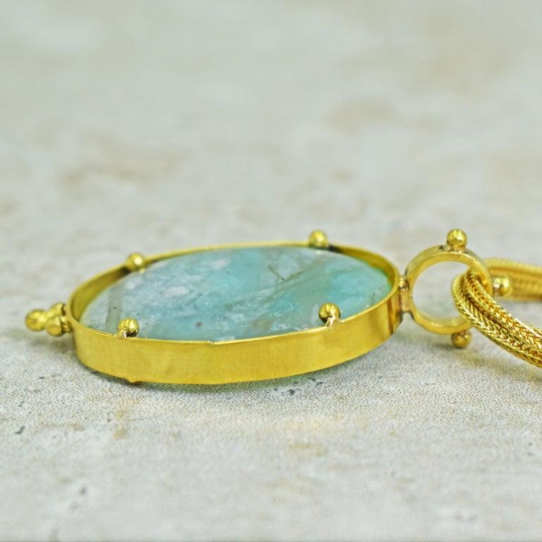 Contemporary Aquaprase 22 Karat Gold Pendant on Four-Strand Chain Necklace For Sale