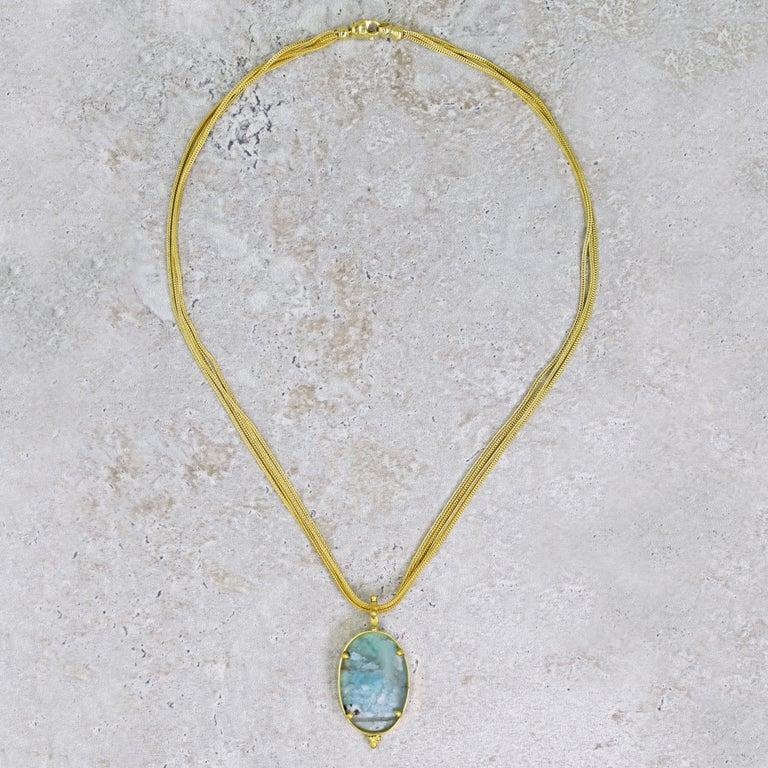 Women's Aquaprase 22 Karat Gold Pendant on Four-Strand Chain Necklace For Sale