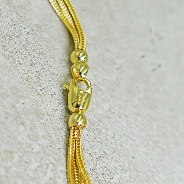 Aquaprase 22 Karat Gold Pendant on Four-Strand Chain Necklace For Sale 1