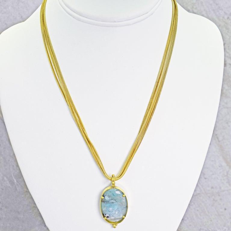 Aquaprase 22 Karat Gold Pendant on Four-Strand Chain Necklace For Sale 2