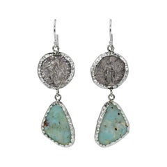 Aquaprase & Ancient Greek Silver Coin Dangle Earrings