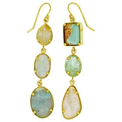 Aquaprase, Opal and Turquoise Multi-Gemstone 22k Asymmetrical Dangle Earrings