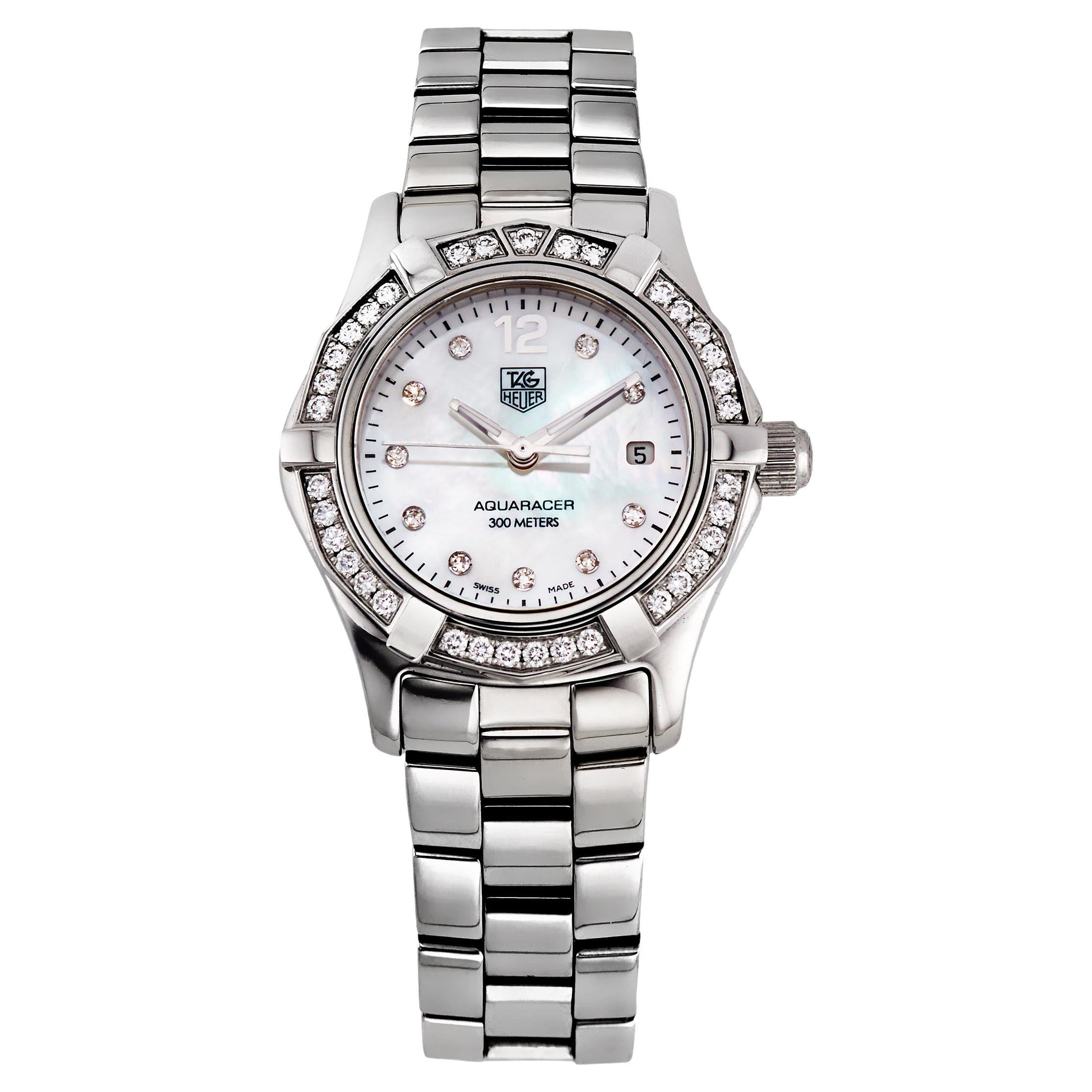 Aquaracer Diamond White Mother of Pearl Dial Ladies Watch