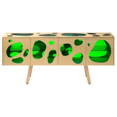 Aquario Sideboard Campana Brothers in Ash Wood and Green Glass by BD
