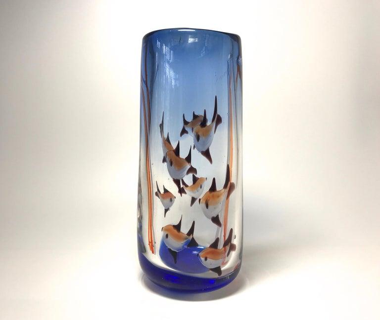 Mid-Century Modern Aquarium Murano Tall Glass Vase, Rich Cobalt Blue, Italy Midcentury, circa 1960 For Sale