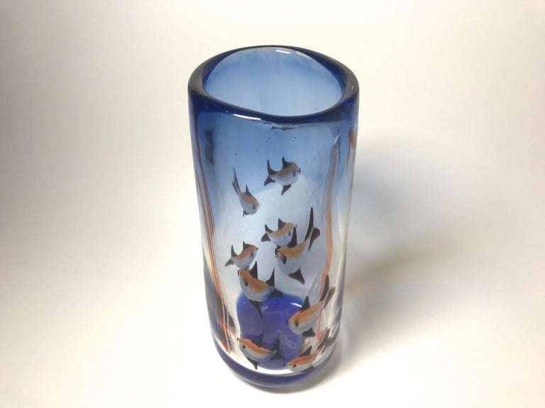 Hand-Crafted Aquarium Murano Tall Glass Vase, Rich Cobalt Blue, Italy Midcentury, circa 1960 For Sale
