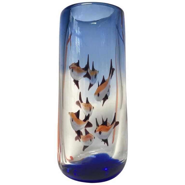 Aquarium Murano Tall Glass Vase, Rich Cobalt Blue, Italy Midcentury, circa 1960 For Sale