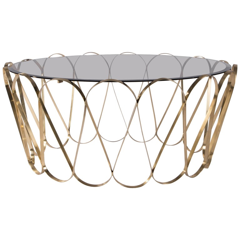 Aquarius Center Table in Gold-Plated Brass with Glass Top For Sale