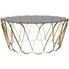 Aquarius Center Table in Gold-Plated Brass with Glass Top