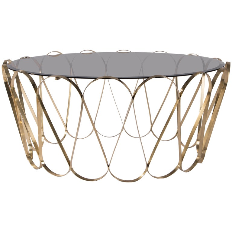 Gold Plated Coffee Table: Aquarius Coffee And Cocktail Table In Gold-Plated Brass