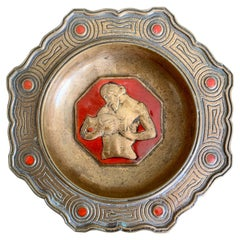 """Aquarius/January,"" Rare, Art Deco Bronze & Red Enamel Pin Dish or Bowl by Bach"