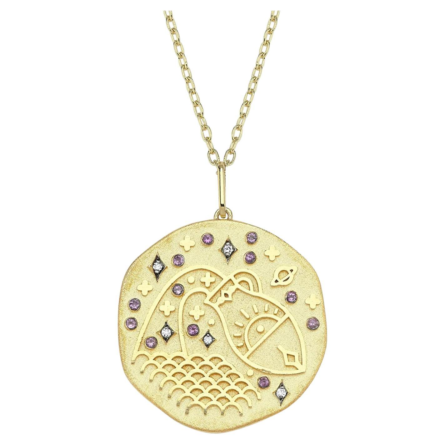 Aquarius Zodiac Charm Necklace, Lucky Stone Diamond and Amethyst 14K Yellow Gold