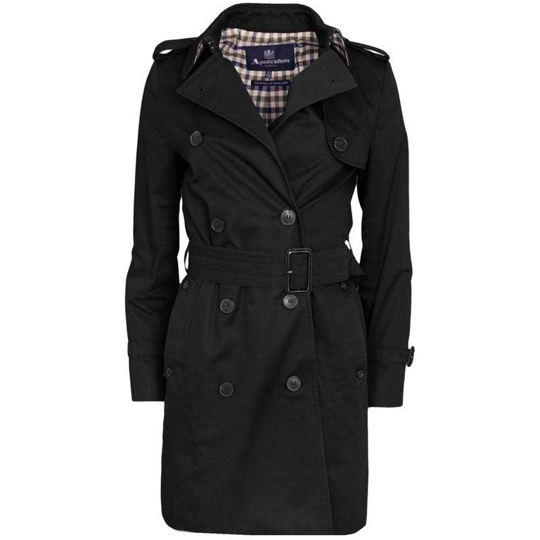 Aquascutum Black Trafalgar Trench Coat Sz 2