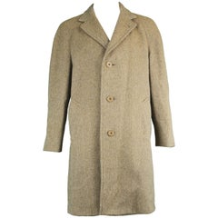 Aquascutum Men's Vintage Pure Lambswool Tweed Raglan Sleeve Overcoat c. 1960s