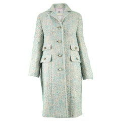 Aquascutum Vintage 1960s Cream & Turquoise Blue Wool Boucle Tweed Coat