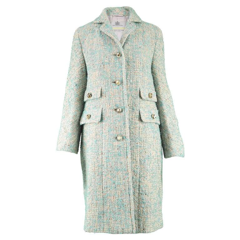Aquascutum Vintage 1960s Cream & Turquoise Blue Wool Boucle Tweed Coat