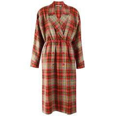 Aquascutum Vintage 1980s Wool Tartan Coat Dress