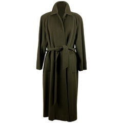 Aquascutum Vintage Green Wool and Cashmere Belted Coat Size 8 US