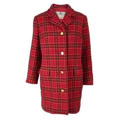 Aquascutum Vintage Womens Red Tweed Coat, 1980s