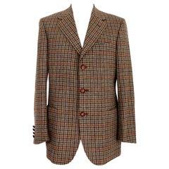 Aquascutum Wool Brown Beige Check Classic Jacket