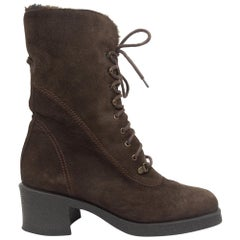 Aquatalia Brown Suede Lace-Up Boots