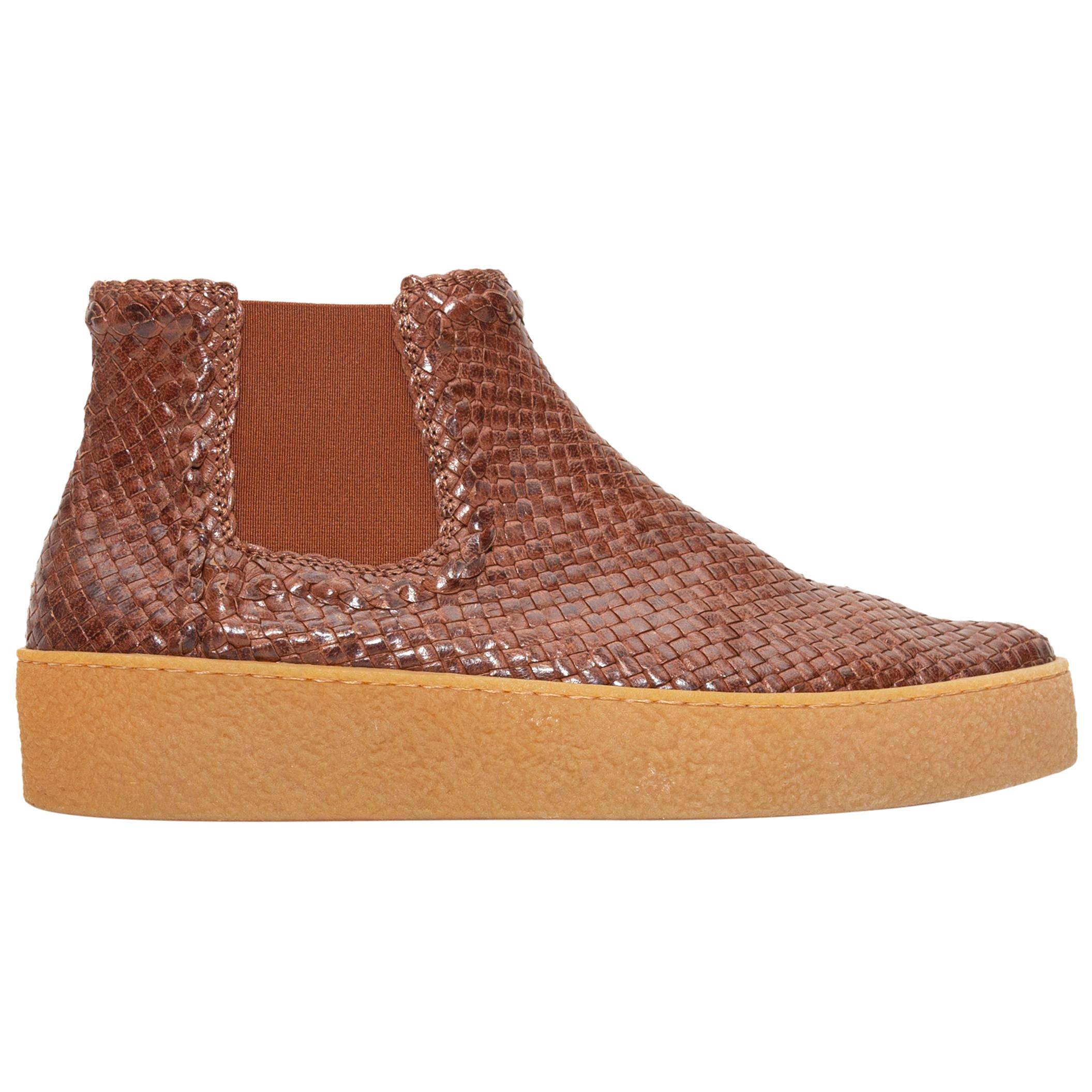 Aquatalia Brown Woven Leather Ankle Boots