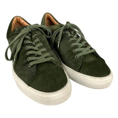 AQUATALIA Size 10 Forest Green Textured Pony Hair Lace Up Sneakers
