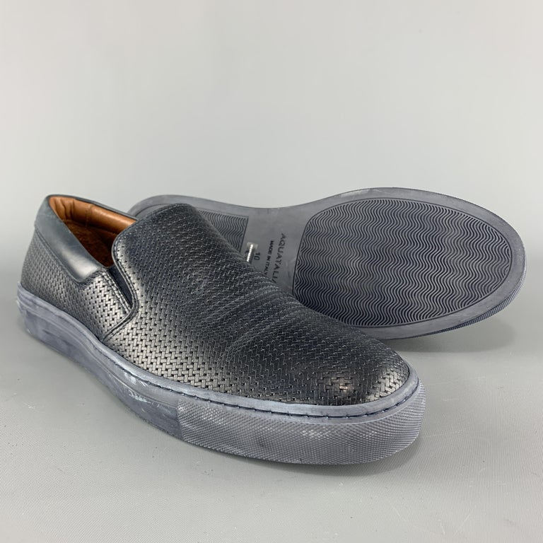 Gray AQUATALIA Size 10 Navy Woven Leather Slip On Sneakers For Sale