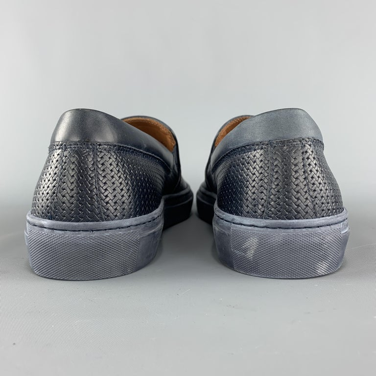 Men's AQUATALIA Size 10 Navy Woven Leather Slip On Sneakers For Sale