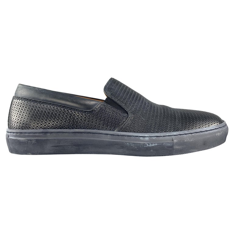 AQUATALIA Size 10 Navy Woven Leather Slip On Sneakers For Sale