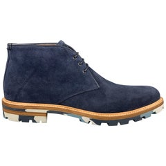 AQUATALIA Size 12 Navy Suede Camouflage Commando Sole Lace Up Boots