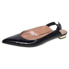 Aquazurra Black Croc Embossed Leather Slingback Sandals Size 36.5