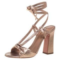 Aquazurra Metallic Rose Gold Leather Delicieuse Ankle Wrap Sandals Size 37