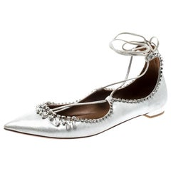 Aquazurra Metallic Silver Crystal Embellished Pointed Toe Ballet Flats Size 39