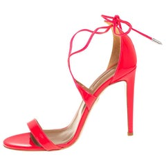 Aquazurra Pink Patent Leather Linda Sandal Size 39