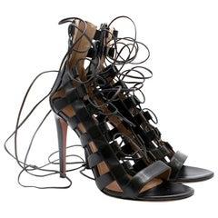 Aquazzura Amazon Black Leather Lace-Up Sandals 39