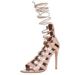 Aquazzura Beige Leather Amazon Lace Up Open Toe Sandals Size 37.5
