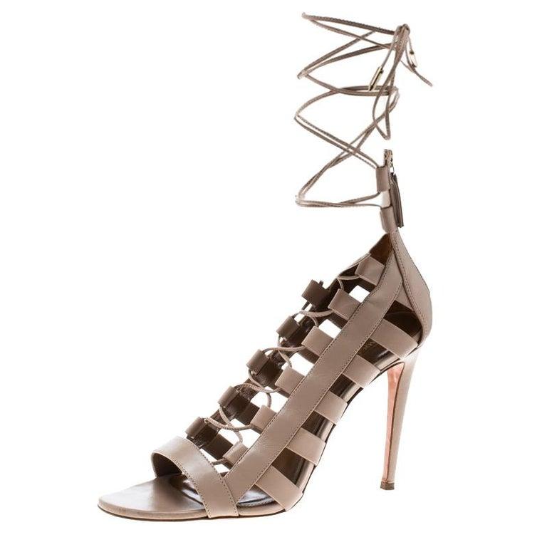 f8e8caaee27 Aquazzura Beige Leather Amazon Lace Up Open Toe Sandals Size 39.5