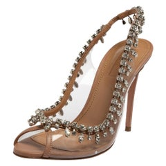 Aquazzura Beige Leather And PVC Temptation Crystal Slingback Sandals Size 37