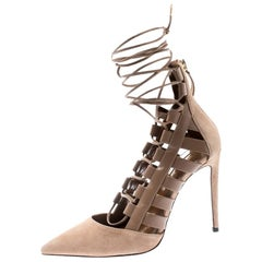 Aquazzura Beige Suede And Leather Belgravia Lace Up Pointed Toe Pumps 37